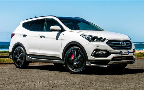 Обои Hyundai Santa Fe белый внедорожник вид сбоку
