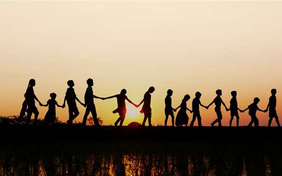 Wallpaper India, Andhra Pradesh, sunset, children hand in hand, silhouette