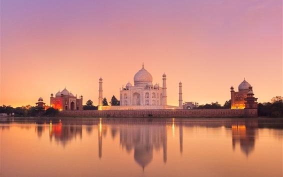 Fond d'écran Inde, Taj Mahal, château, eau, reflet, crépuscule