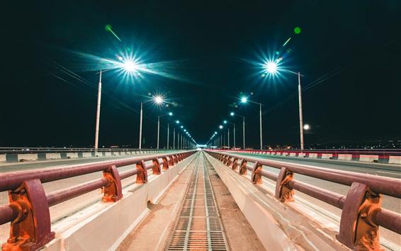 Wallpaper Irkutsk, Russia, city, night, bridge, road, lights