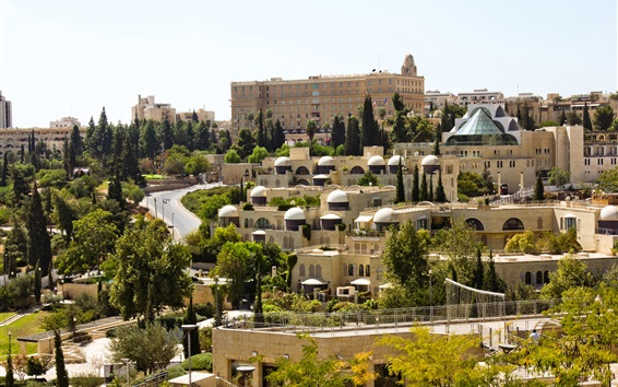 Wallpaper Israel, Jerusalem, buildings, trees, road, city