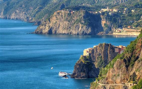 Fond d'écran Italie, Cinque Terre, Ligurian, côte, montagnes, mer, rochers