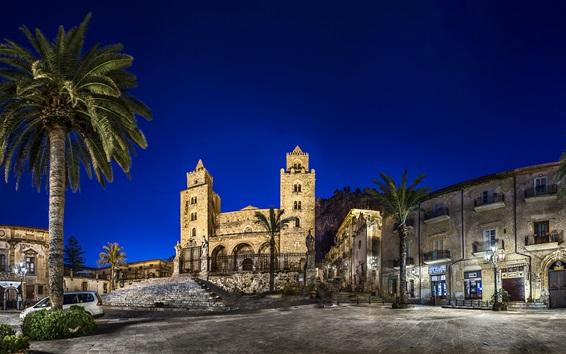 Обои Италия, Сицилия, пальмы, улица, здание, ночь, огни