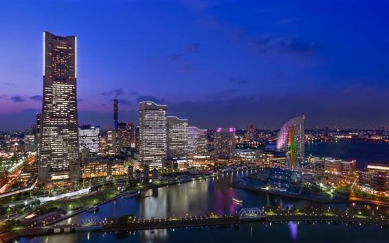 Fond d'écran Japon, ville, nuit, vues, gratte-ciel, lumières