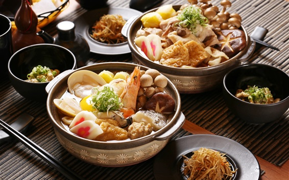 Wallpaper Japanese cuisine, meals, seafood