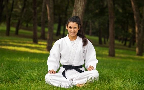 Wallpaper Karate, white clothes girl, smile, grass