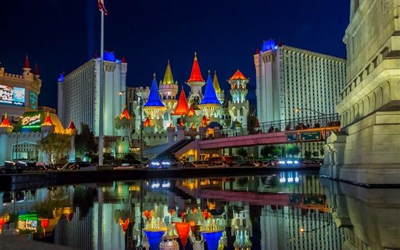 Wallpaper Las Vegas, Nevada, USA, city, night, castle, buildings, water, lights