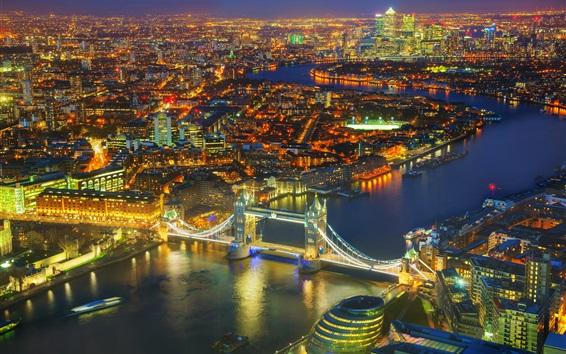 Wallpaper London night view, Tower Bridge, Thames River, city, lights, UK