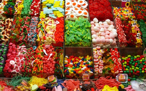 Wallpaper Many kinds of candy, colorful, shop