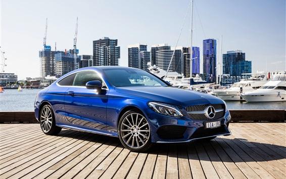 Обои Mercedes-Benz AMG C-Class C205 синий купе