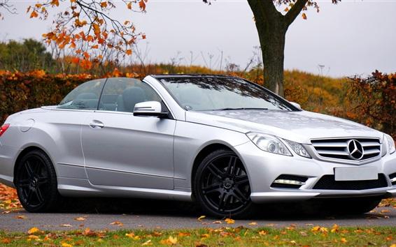 Wallpaper Mercedes-Benz E Class silvery convertible car side view