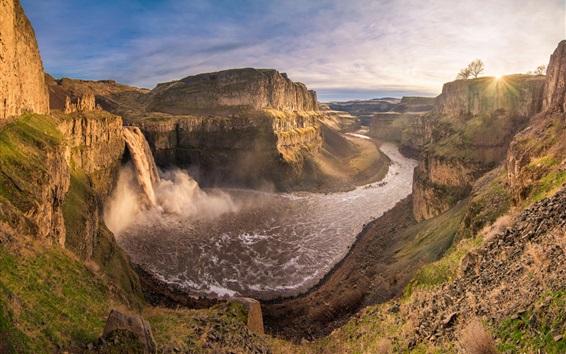 Обои Горы, долины, каньон, река, водопад, облака, закат