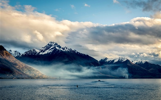 New Zealand, Queenstown, mountains, sea, coast, clouds Wallpaper Preview