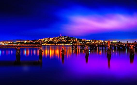 Wallpaper New Zealand, Wellington, city, night, lights, river, pier