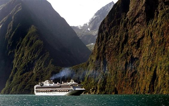 Wallpaper New Zealand, cruise ship, mountain, cliff, sea
