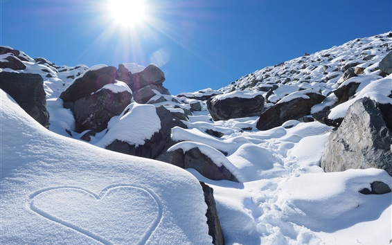 Wallpaper New Zealand, winter, mountains, thick snow, sun rays, love heart