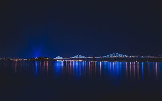 Wallpaper Night city, river, bridge, lights, illumination