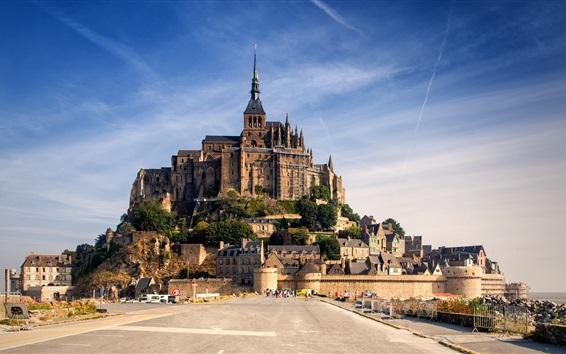 Fond d'écran Normandie, France, château, Mont-Saint-Michel, maisons, route, ciel