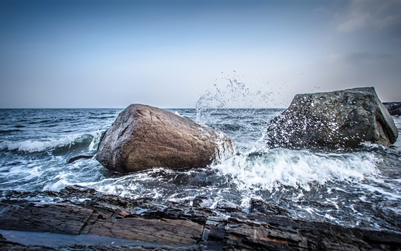 Wallpaper Norway, sea, stones, water splash