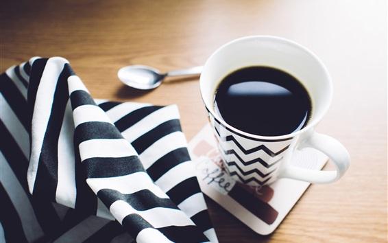 배경 화면 커피 한잔, 흑백 줄, 수건, 숟가락