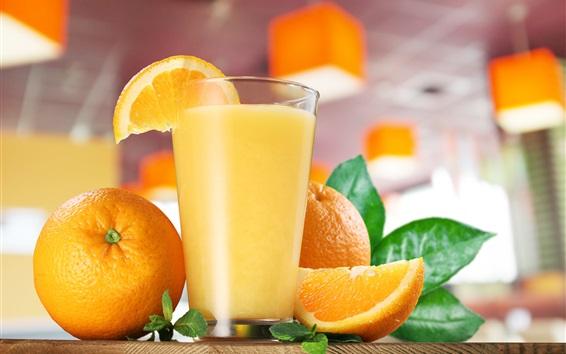 Fondos de pantalla Jugo de naranja, copa de vidrio, bebidas, naranjas
