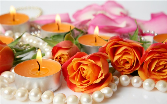 Wallpaper Orange roses and candles, jewelry