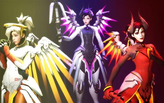 Wallpaper Overwatch, Angela Ziegler, angel girl, wings