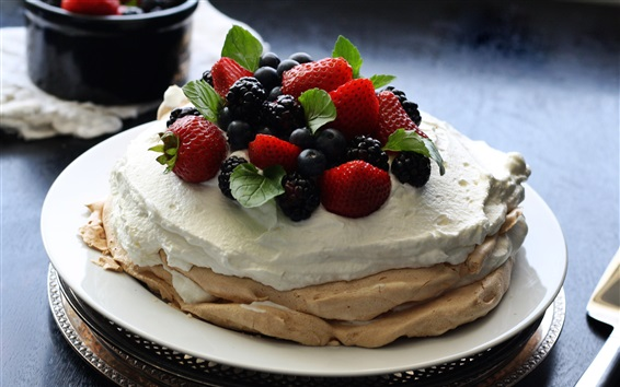 Wallpaper Pancake, cream, berries, dessert