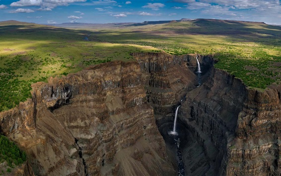 Wallpaper Putorana Plateau, Siberia, Russia, canyon, waterfall, clouds
