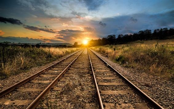 Обои Железная дорога, закат, трава