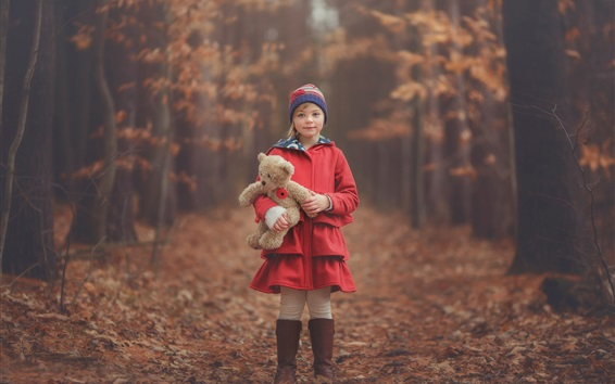 Papéis de Parede Vermelho roupas menina, criança, ursinho de pelúcia, outono, floresta