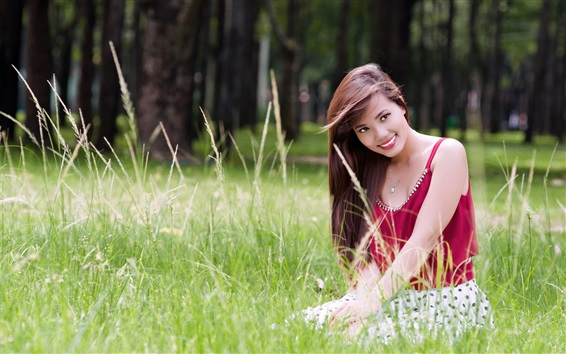 Wallpaper Red dress Asian girl, smile, grass, summer