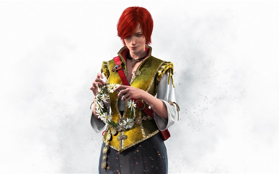 Wallpaper Red hair girl, The Witcher 3: Wild Hunt