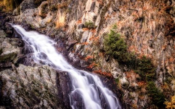 壁纸 岩石,山,溪流,瀑布