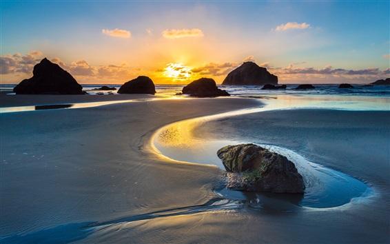 Fondos de pantalla Mar, océano, costa, playa, rocas, amanecer, salida del sol, Bandon, oregon, estados unidos