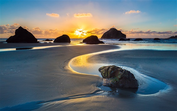 Wallpaper Sea, ocean, coast, beach, rocks, dawn, sunrise, Bandon, Oregon, USA