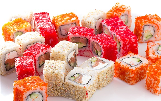 Wallpaper Seafood, colorful sushi, rolls, japanese food