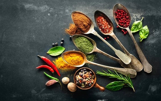 Wallpaper Seasoning, spices, pepper, spoon, nuts, leaves