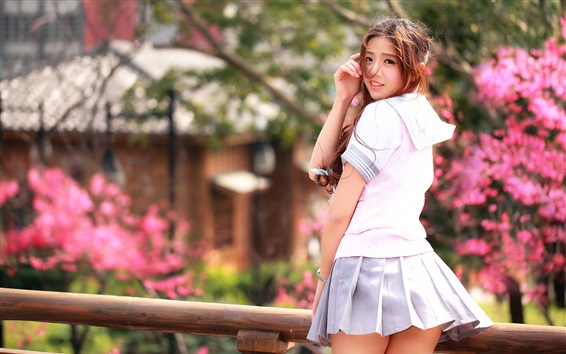 Wallpaper Smile oriental girl, student, look back, skirt