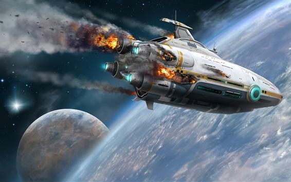 Обои Космический корабль, катастрофа, планета, вселенная