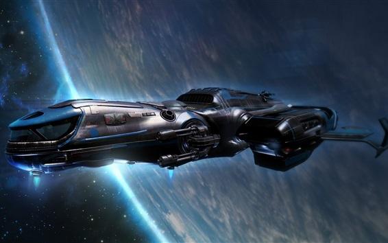 Wallpaper Spaceship flight, planet, universe