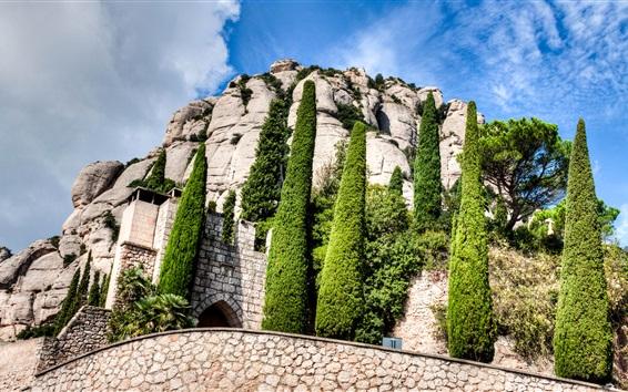 Wallpaper Spain, Montserrat, Catalonia, monastery, trees, clouds