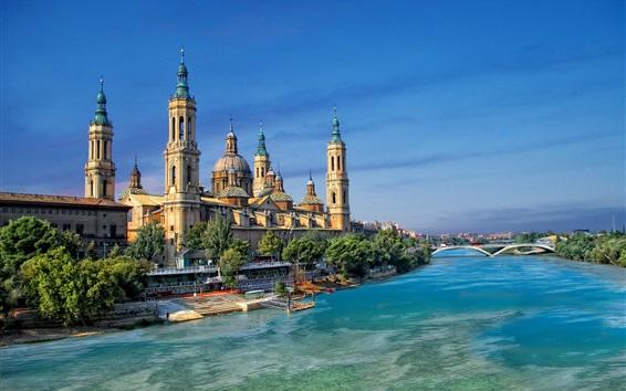 Fondos de pantalla España, Zaragoza, río Ebro, casas, puente