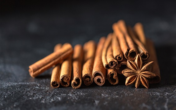 Wallpaper Spices close-up, cinnamon, star anise