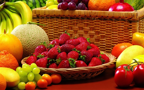 Wallpaper Strawberry, melon, grapes, bananas, tangerines, fruit photography