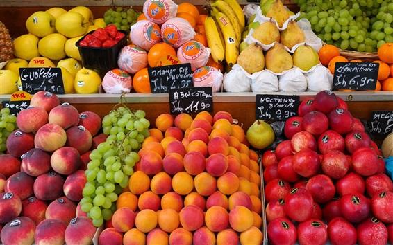 Papéis de Parede Mercado de rua, loja de frutas, ameixas, pêssegos, uvas, peras, bananas, laranjas