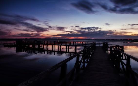 Wallpaper Sunset pier, lake, clouds, dusk