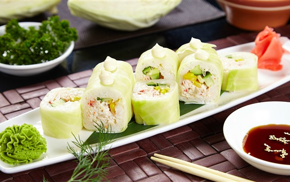 Papéis de Parede Sushi, rolos, wasabi, repolho, comida japonesa