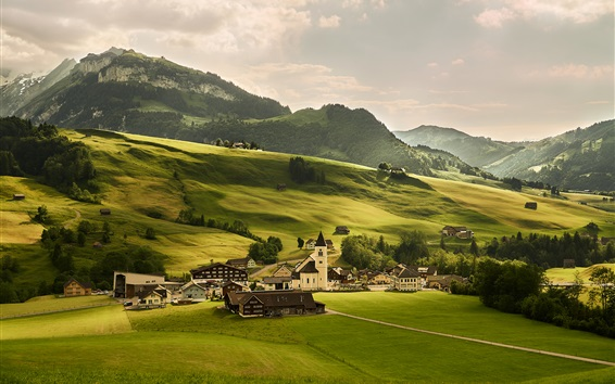 Wallpaper Switzerland, meadows, green fields, village, Alps, mountains, trees
