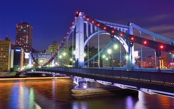 Обои Токио, Япония, столица, ночь, мост, река, огни
